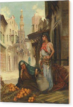 The Orange Seller Wood Print by Fabbio Fabbi