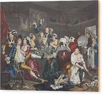 The Orgy, Plate IIi From A Rakes Wood Print by William Hogarth