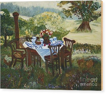 Wood Print featuring the painting The Outdoor Gathering by Helena Bebirian
