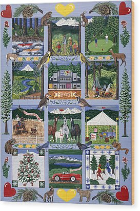 Wood Print featuring the painting The Outdoor Quilt by Jennifer Lake