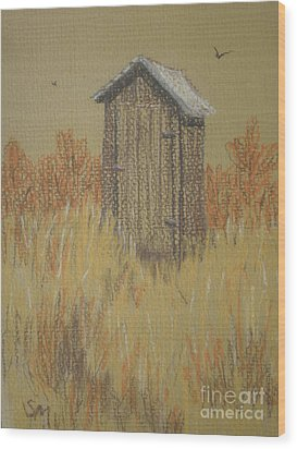 Wood Print featuring the painting The Outhouse by Suzanne McKay