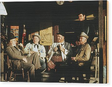 Wood Print featuring the photograph The Over The Hill Gang  Johnny Cash Porch Old Tucson Arizona 1971 by David Lee Guss