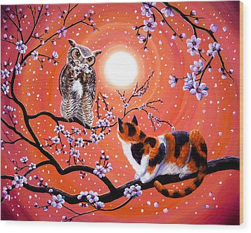 The Owl And The Pussycat In Peach Blossoms Wood Print by Laura Iverson