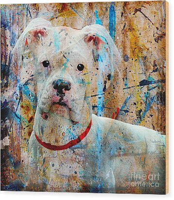 The Painter's Dog Wood Print by Judy Wood