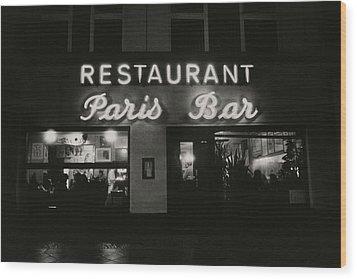 The Paris Bar Wood Print by Dominique Nabokov