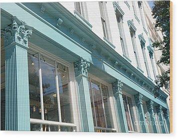 The Paris Market - Savannah Georgia Paris Market - Paris Macaron Shop - Parisian Shop Architecture Wood Print by Kathy Fornal