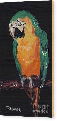 The Parrot Wood Print by Joyce Gebauer