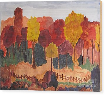 The Pasture In Autumn Wood Print