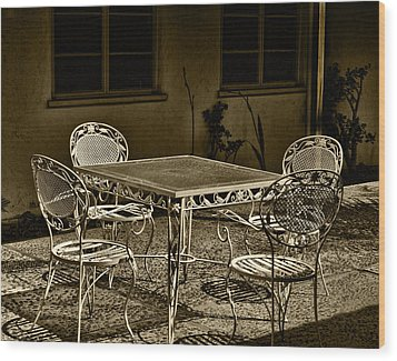 The Patio Wood Print by Camille Lopez