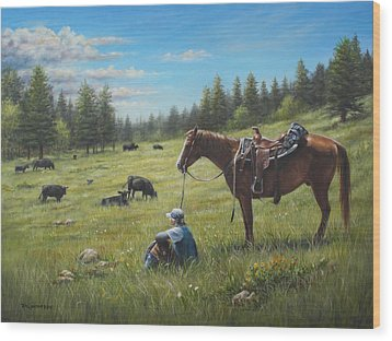Wood Print featuring the painting The Perfect Day by Kim Lockman