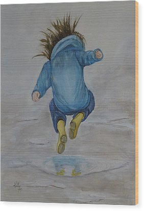 The Perfect Puddle... Jump Wood Print by Kelly Mills