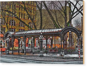 The Pergola In Pioneer Square - Seattle  Wood Print by David Patterson