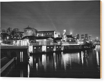The Philadelphia Waterworks In Black And White Wood Print by Bill Cannon
