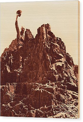 Wood Print featuring the photograph The Photographer On Pinnacle Peak Early 1900 Era by Eddie Eastwood