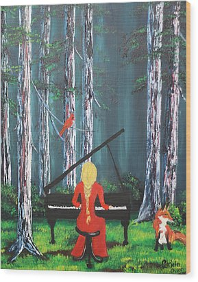 The Pianist In The Woods Wood Print