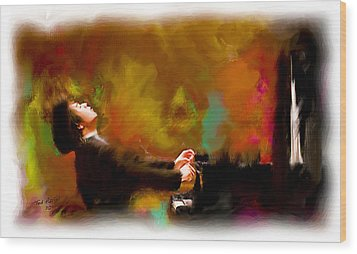 The Pianist Wood Print by Ted Azriel