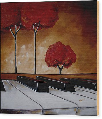 The Piano Man's Dream Wood Print by Vickie Warner