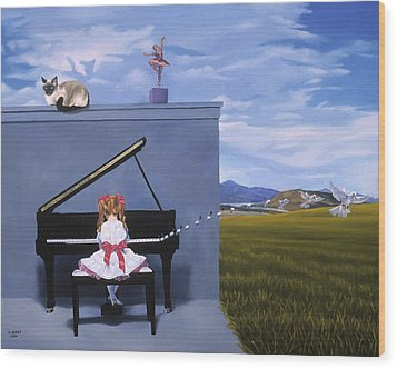 The Piano Player Wood Print by Michael Bridges