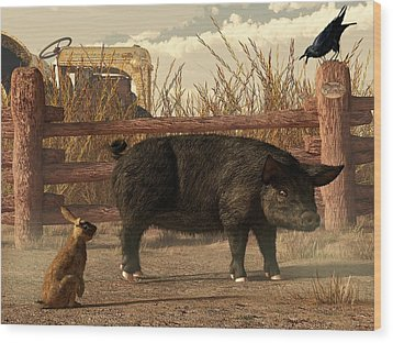 The Pig And The Hare Wood Print by Daniel Eskridge