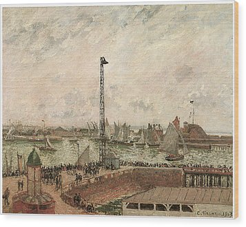 The Pilot's Jetty Le Harve Mornig Grey Weather Misty Wood Print by Camille Pissarro