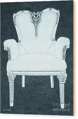 The Pink Chair Gone Cyanide Wood Print by Margaret Newcomb