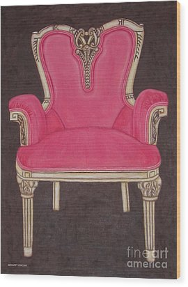 The Pink Chair Wood Print by Margaret Newcomb