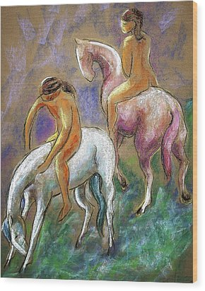 The Pink Horse Wood Print