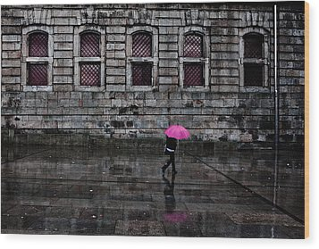 The Pink Umbrella Wood Print