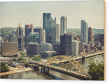 The Pittsburgh Skyline Wood Print by Lisa Russo