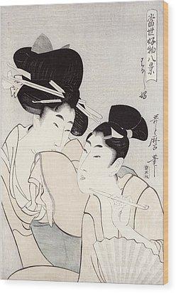 The Pleasure Of Conversation Wood Print by Kitagawa Utamaro