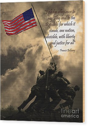 The Pledge Of Allegiance - Iwo Jima 20130211v2 Wood Print by Wingsdomain Art and Photography