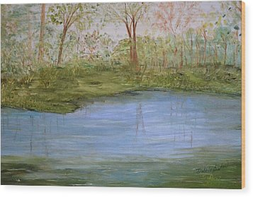 Wood Print featuring the painting The Pond by Debbie Baker