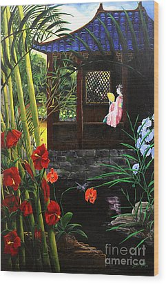 The Pond Garden Wood Print by D L Gerring