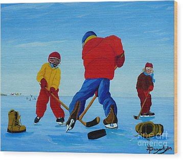 The Pond Hockey Game Wood Print by Anthony Dunphy