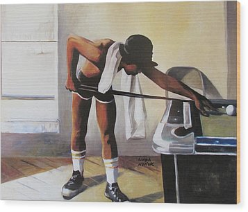 Wood Print featuring the painting The Pool Player by Linda Novick