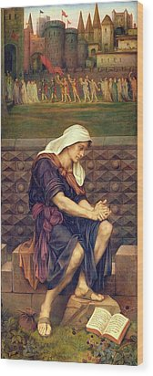 The Poor Man Who Saved The City Wood Print by Evelyn De Morgan