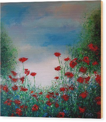 The Poppy Field Wood Print