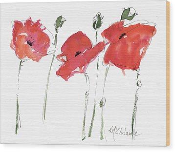The Poppy Ladies Wood Print by Kathleen McElwaine