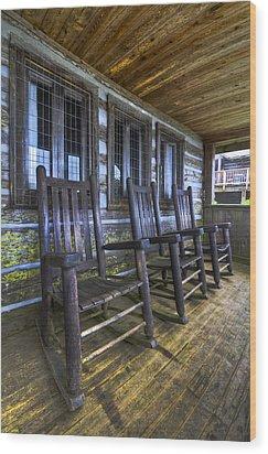 The Porch Wood Print by Debra and Dave Vanderlaan