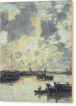 The Port Wood Print by Eugene Louis Boudin