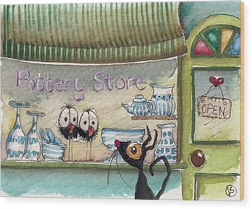 The Pottery Store Wood Print by Lucia Stewart
