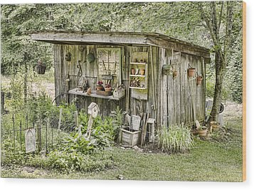 The Potting Shed Wood Print by Heather Applegate