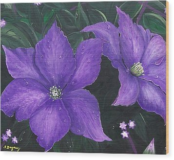 Wood Print featuring the painting The President Clematis by Sharon Duguay