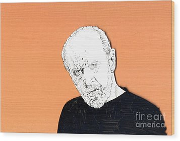 Wood Print featuring the mixed media The Priest On Orange by Jason Tricktop Matthews