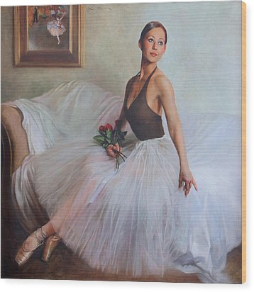 The Prima Ballerina Wood Print by Anna Rose Bain