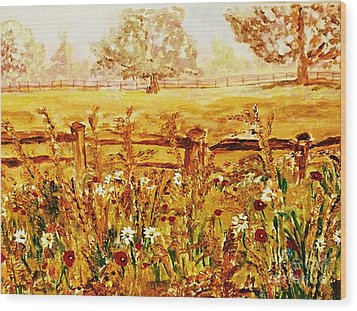 Wood Print featuring the painting The Prince Of Wales Wild Flower Fields by Helena Bebirian