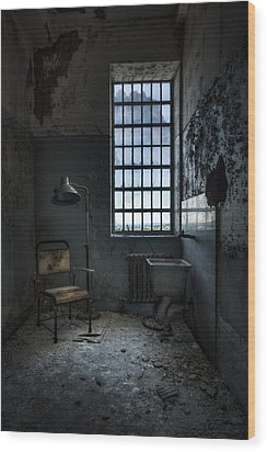 Wood Print featuring the photograph The Private Room - Abandoned Asylum by Gary Heller