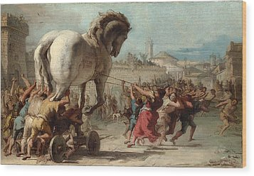 The Procession Of The Trojan Horse Into Troy Wood Print