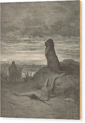 The Prophet Slain By A Lion Wood Print by Antique Engravings