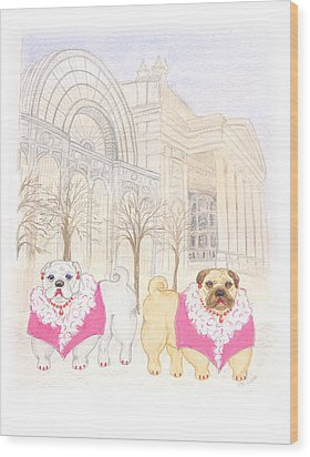 Wood Print featuring the painting The Pugsleys A Night At The Opera by Stephanie Grant